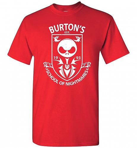 Burton's School Of Nightmares Unisex T-Shirt Pop Culture Graphic Tee (4XL/Red) Humor