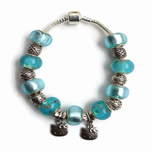 European Silver Charm Bracelet Kitty With Light Blue Murano Beads