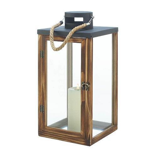 """*18492U - Metal Top 16"""" Wooden Pillar Candle Lantern"""