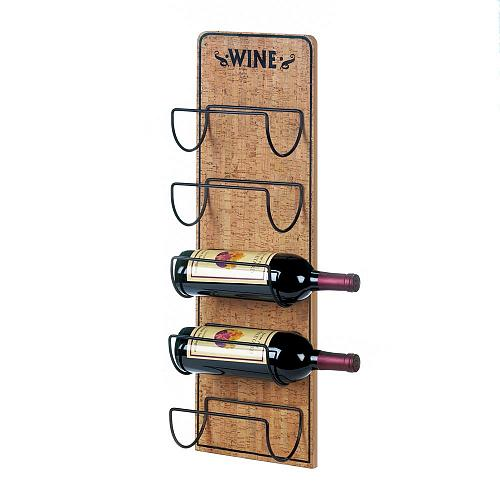 *18369U - Rustic Sign 5 Bottle Holder Wall Wine Rack
