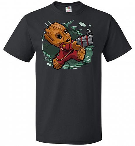 Tiny Groot Unisex T-Shirt Pop Culture Graphic Tee (S/Black) Humor Funny Nerdy Geeky S