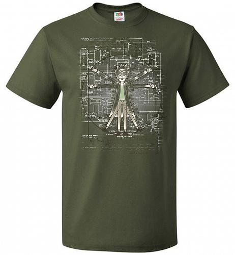 Vitruvian Rick Unisex T-Shirt Pop Culture Graphic Tee (XL/Military Green) Humor Funny