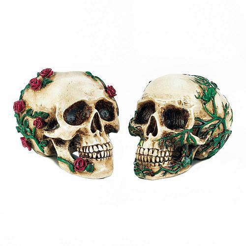 *18131U - His & Hers Ivy Roses Skull Figure Statue Set