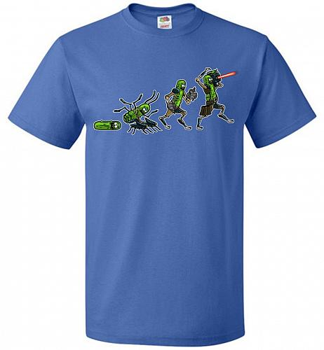 Pickle Rick Evolution Unisex T-Shirt Pop Culture Graphic Tee (S/Royal) Humor Funny Ne