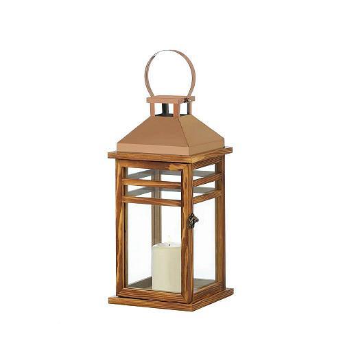 "*18315U - Contemporary 13.2"" Rose Gold Top Pillar Candle Lantern"