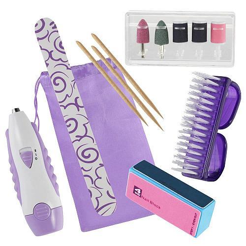 :10677U - Ultimate 14pc Purple Manicure Machine Set 5 Buffers + Accessories