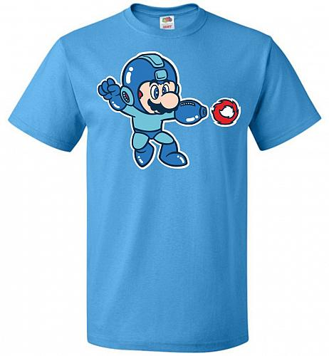 Mega Mario Unisex T-Shirt Pop Culture Graphic Tee (3XL/Pacific Blue) Humor Funny Nerd