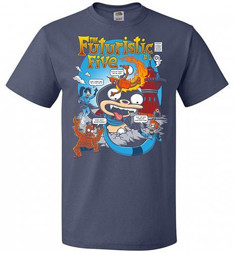 Futuristic Five Unisex T-Shirt Pop Culture Graphic Tee (M/Denim) Humor Funny Nerdy Ge