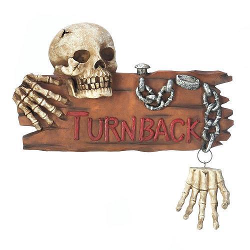 *17683U - Turn Back Skeleton Plaque Door Knocker