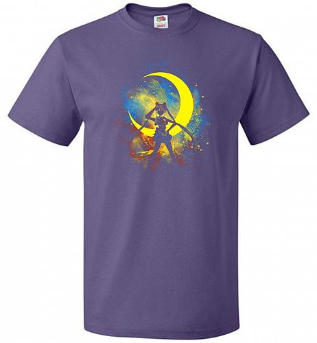 Moon Art Unisex T-Shirt Pop Culture Graphic Tee (M/Purple) Humor Funny Nerdy Geeky Sh