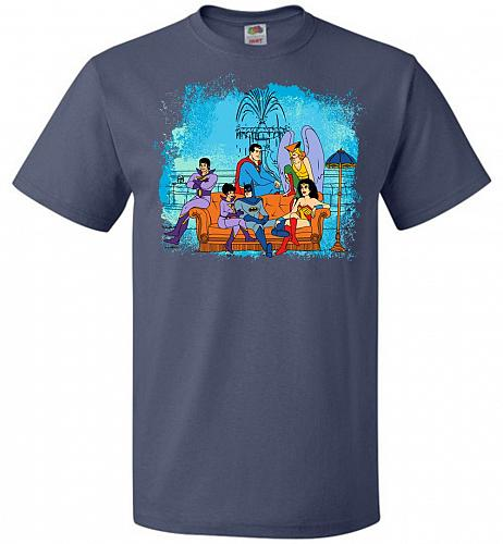 Super Friends Unisex T-Shirt Pop Culture Graphic Tee (4XL/Denim) Humor Funny Nerdy Ge