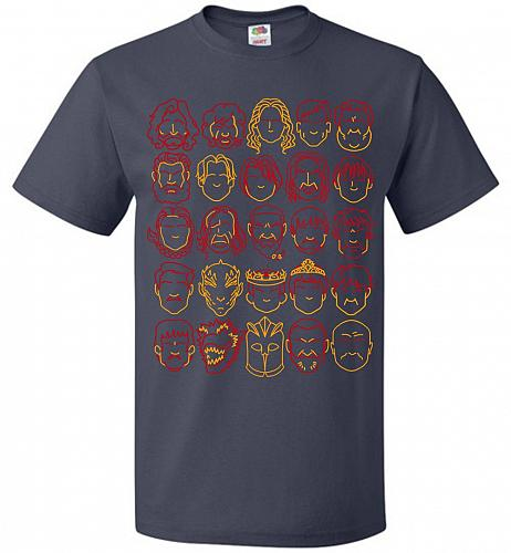 Game Of Throne Heads Minimalism Adult Unisex T-Shirt Pop Culture Graphic Tee (L/J Nav