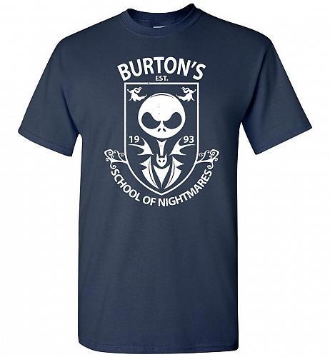 Burton's School Of Nightmares Unisex T-Shirt Pop Culture Graphic Tee (XL/Navy) Humor