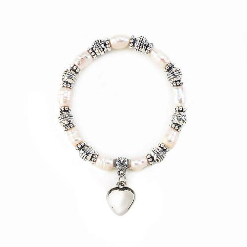 :11025U - Pearl Stretch Bracelet With Heart Charm