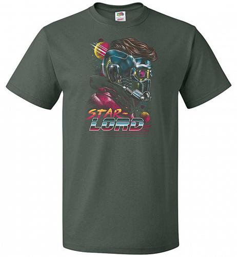 Retro Star Lord Unisex T-Shirt Pop Culture Graphic Tee (M/Forest Green) Humor Funny N