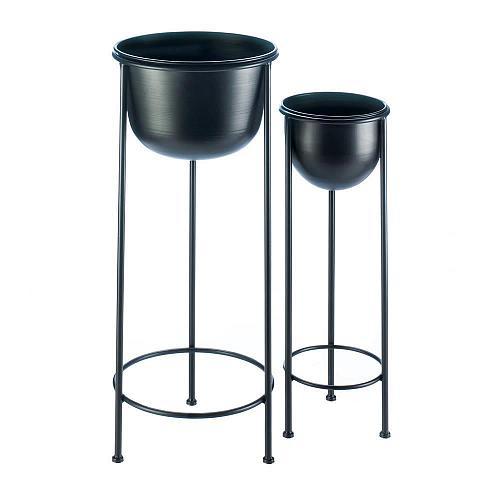 *18491U - Bucket Style Black Iron Plant Stand 2pc Set