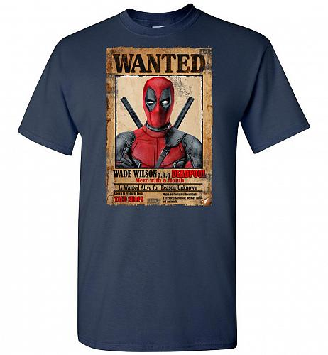 Deadpool Wanted Poster Unisex T-Shirt Pop Culture Graphic Tee (XL/Navy) Humor Funny N