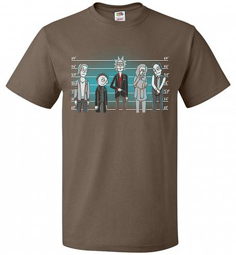 Rick and Morty Unusual Suspects Unisex T-Shirt Pop Culture Graphic Tee (2XL/Chocolate