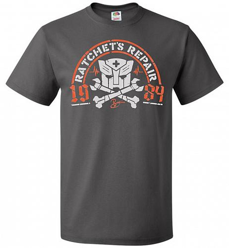 Transformers Ratchet's Repair Adult Unisex T-Shirt Pop Culture Graphic Tee (2XL/Charc