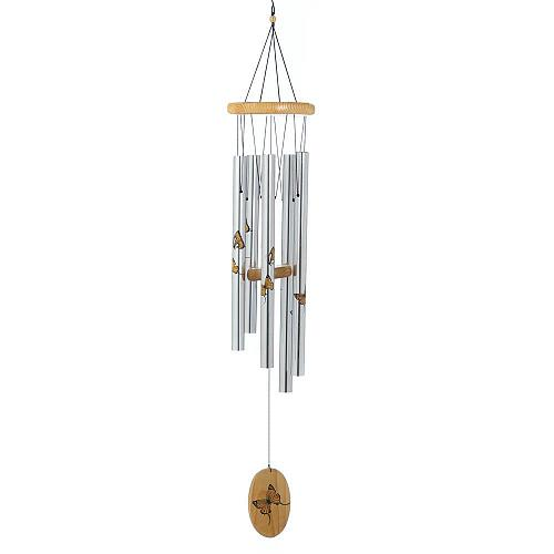 "*18226U - Silver 37"" Silver Aluminum Wind Chimes Wood Printed Butterfly"