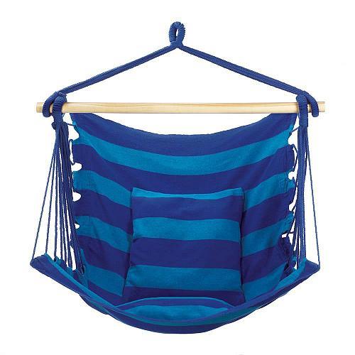 *18287U - Blue Stripe Cotton Hanging Hammock Chair w/Pillow
