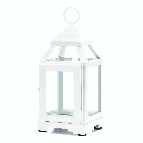 "*18086U - White Metal 8 3/4"" Contemporary Pillar Candle Lantern Clear Glass"