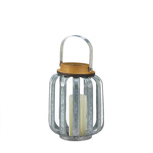 "*18515U - Small 8"" Galvanized Metal Pillar Candle Lantern"