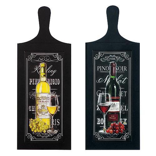*18170U - Wine Bottle Wall Art Wood Plaque Duo