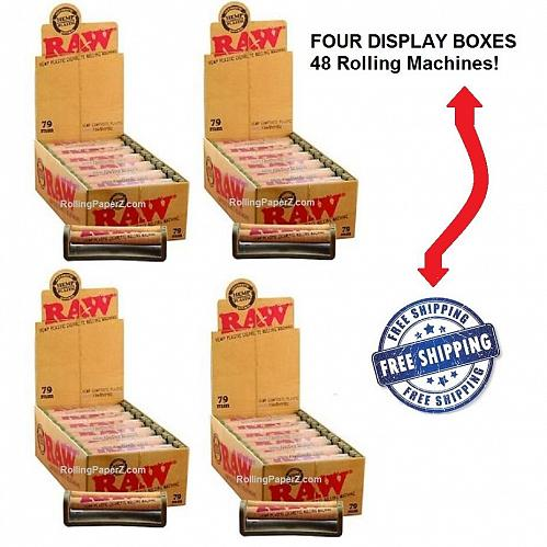 79mm RAW Hemp Plastic Rolling Machines - 4 DISPLAY BOXES/48 ROLLERS - Wholesale!