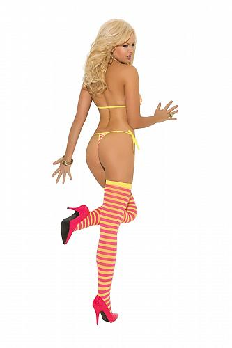 SEXY Striped String Bra, Tie Side Thong & Stockings #1535 Elegant Moments