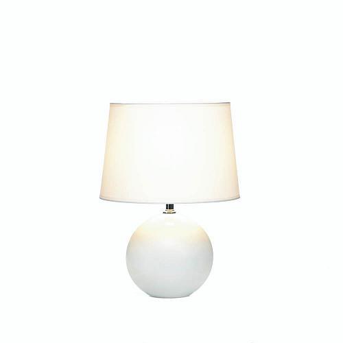 *18015U - White Round Ceramic Base Table Lamp w/Shade