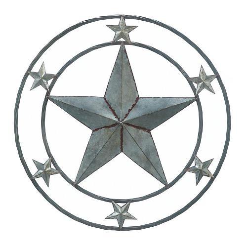 "*18364U - Galvanized 24"" Round Star Art Sclupture Wall Decor"