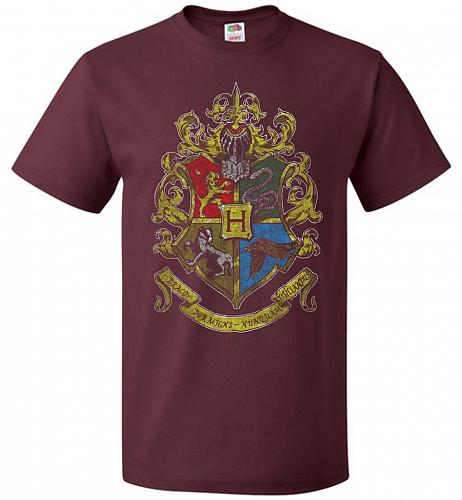 Hogwart's Crest Adult Unisex T-Shirt Pop Culture Graphic Tee (S/Maroon) Humor Funny N