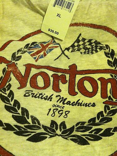 Lucky Brand Men`s XL Graphic T- Style 7M82611 Color Oat Norton British Machines
