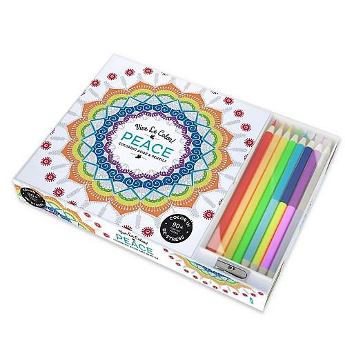 :10809U - Peace 94 Page Adult Coloring Book w/8 Colored Pencils