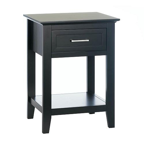 "*18183U - Black Wood Crosstown 26"" Side Table Accent Furniture"