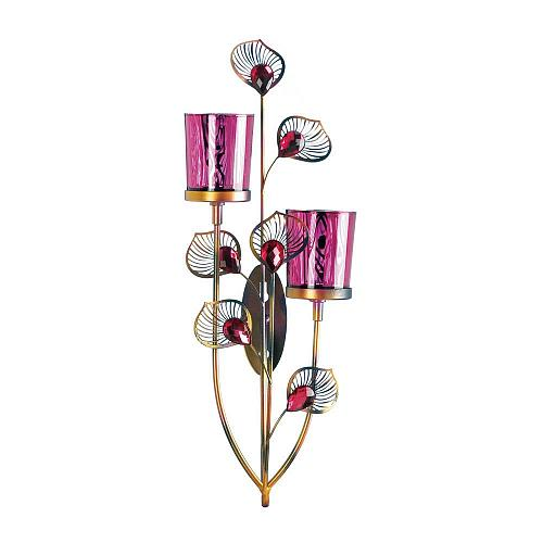 *18269U - Pink Peacock Glass 2 Cup Votive Candle Wall Sconce