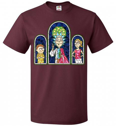 Rick And Morty Stain Glass Unisex T-Shirt Pop Culture Graphic Tee (L/Maroon) Humor Fu
