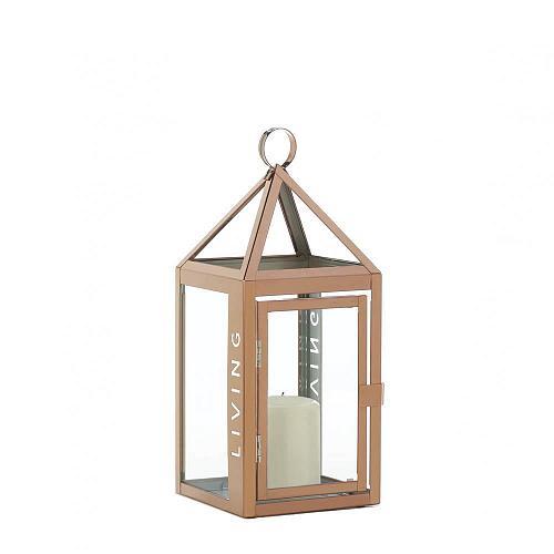 "*18356U - 13.5"" Rose Gold Living Cutout Pillar Candle Lantern"