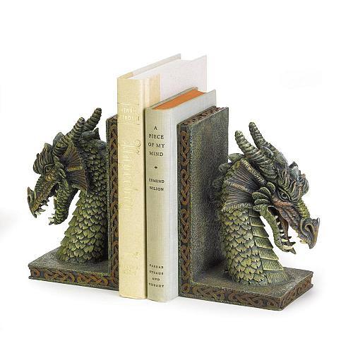 37978U - Fierce Green Dragon Figure Polyresin Bookends