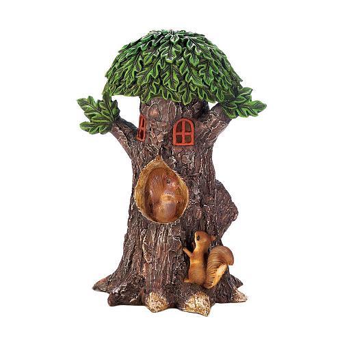 *18204U - Solar Playful Squirrels Treehouse Figure Yard Art