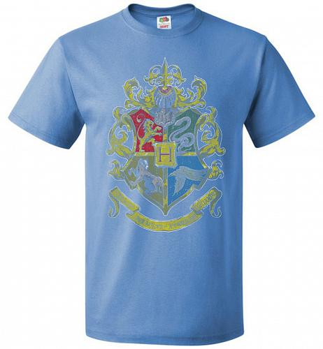 Hogwart's Crest Adult Unisex T-Shirt Pop Culture Graphic Tee (L/Columbia Blue) Humor