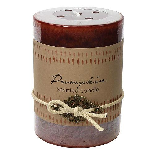 :10925U - 2ct Pumpkin Scented Tri-color Brown Pillar Candle 3x4
