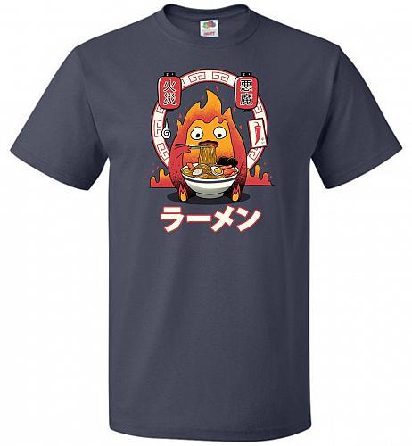 Fire Demon Ramen Unisex T-Shirts Pop Culture Graphic Tee (3XL/J Navy) Humor Funny Ner