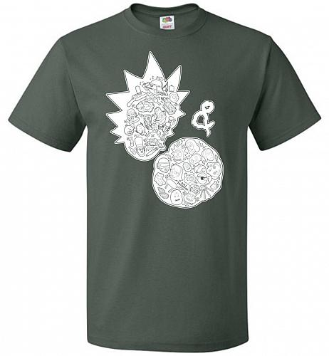 Rick N Morty Unisex T-Shirt Pop Culture Graphic Tee (2XL/Forest Green) Humor Funny Ne