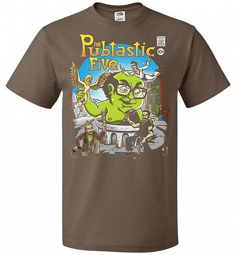 Pubtastic Five Unisex T-Shirt Pop Culture Graphic Tee (5XL/Chocolate) Humor Funny Ner