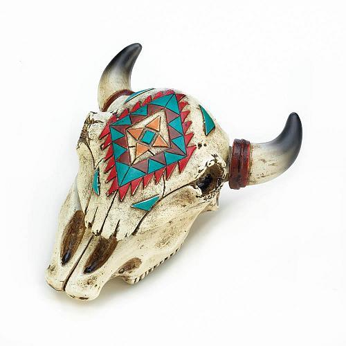 *18473U - Aztec Design Ox Skull Jewelry Trinket Box