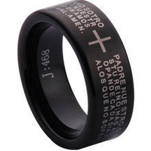 coi Jewelry Black Tungsten Carbide Cross Wedding Band Ring