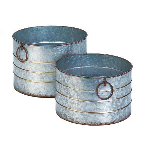 *18399U - Round Galvanized Planters Set of 2 Pots