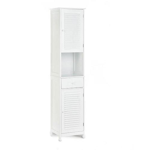 *18188U - Nantucket Tall 2 Door White Wood Cabinet 1 Drawer